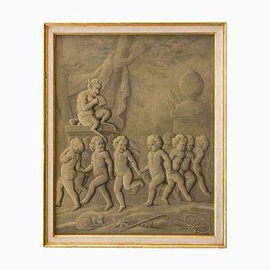 Französisches Grisaille Gemälde, spätes 18. Jh