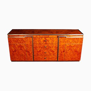 Chrome and Burl Wood Credenza, Italy, 1970