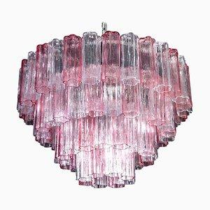 Großer italienischer Tronchi Kronleuchter in Rosa und Eisfarbenem Murano Glas