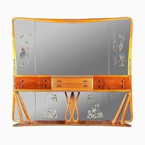 Italian Art Deco Sideboard Console Table with Mirror Attributed to Osvaldo Borsani, 1940