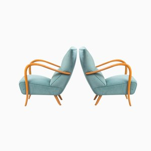 Vintage Blue Velvet Italian Armchairs, Set of 2