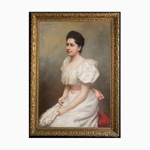 Graceful Portrait of the Countess Carrobio Pastel on Canvas, 1910