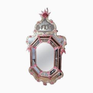 Venezianischer Pink Flower Murano Glas Spiegel