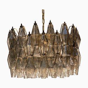 Grauer Poliedri Murano Glas Kronleuchter