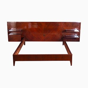 Mid-Century Mahogany Queen Bed Attributed to Gio Ponti, 1950