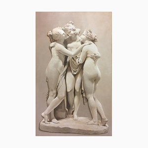 Large Neoclassical 3 Graces Grisaille Painting after Canova, 1920
