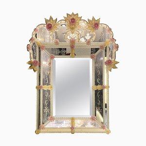 Venezianischer Murano Glas Spiegel mit Rosa Blumen