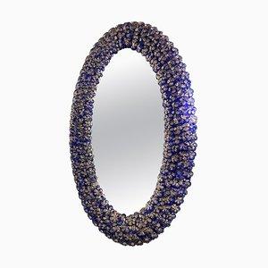 Blauer ovaler Murano Glas Blumen Spiegel
