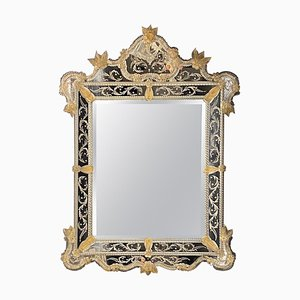 Venezianischer Spiegel aus geätztem Muranoglas
