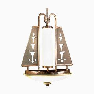 Art Deco Chrome and Murano Glass Chandelier for Pietro Chiesa for Fontana Arte