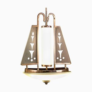 Art Deco Kronleuchter aus Chrom & Muranoglas für Pietro Chiesa für Fontana Arte