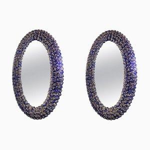 Blaue ovale Spiegel aus Muranoglas in Blumen-Optik, 2er Set