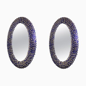Blue Murano Glass Flower Oval-Shaped Mirrors, Set of 2