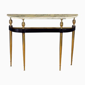 Mid-Century Oval Shaped Gilt Bronze Console Table Italy, 1950