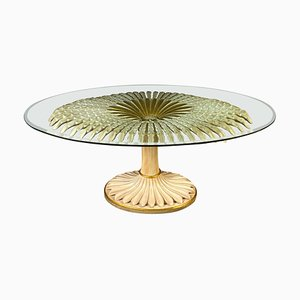 Giltwood and Painted Palm Sculpture Dining or Center Table, Italy, 1970