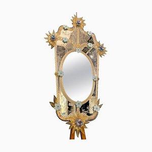 Venezianischer Blauer Murano Glas Blumen Spiegel