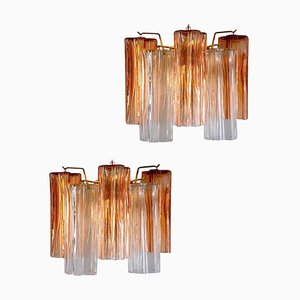Mid-Century Amber and Clear Murano Glass Sconce, Set of 2