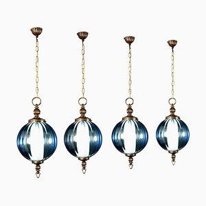 Mid-Century Aquamarine Murano Glass Atmosphere Lantern or Pendant, Italy, 1950s