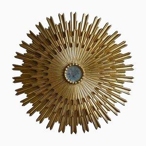 Large Gilded Triple Layered Sunburst Mirror, Spain, 1950s