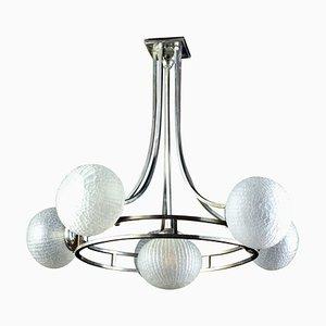 Mid-Century Chrome & Murano Glass Chandelier Attributed to Gino Sarfatti, 1960s