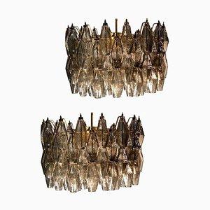 Graue Poliedri Kronleuchter aus Muranoglas im Stil von Carlo Scarpa, 2er Set