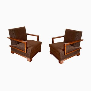Lounge Chairs and Ottomans by Osvaldo Borsani, Italy, 1930s, Set of 4