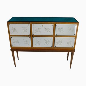 Bar Cabinet with Zodiac Etched Mirrored Glass in the Style of Gio Ponti