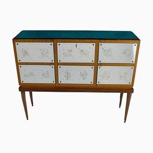 Mueble bar con cristal de espejo grabado con el signo del zodiaco al estilo de Gio Ponti