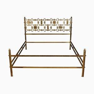 Bed with Brass Details by Osvaldo Borsani & Arnaldo Pomodoro, 1950s