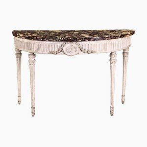 18th Century Italian Louis XVI Ivory Painted Demilune Console Table