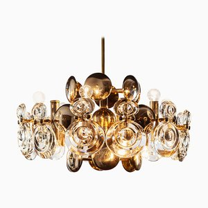 Brass and Glass Lens Chandelier by Gaetano Sciolari, Italy, 1960s