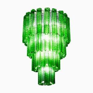 Mid-Century Green Murano Glass Tronchi Four-Tier Chandelier, 1960