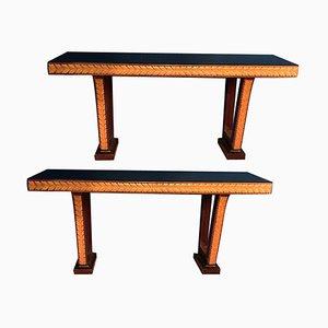 Italian Art Deco Console Tables Attributed to Osvaldo Borsani, 1940s, Set of 2