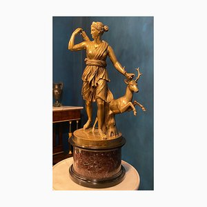 Sculpture Grand Tour en Bronze de B. Boschetti, Déesse de la Chasse, 1860s
