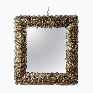 Goldfarbener Murano Glas Blumen Spiegel
