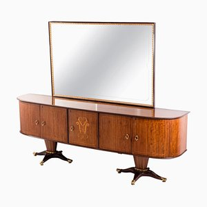 Mid-Century Italian Sideboard with Mirror Attributed to Paolo Buffa, 1950s, Set of 2