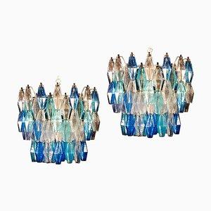 Sapphire Murano Glass Poliedri Chandelier in the Style of C. Scarpa