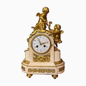 19th Century French Ormolu & White Marble Mantel Clock