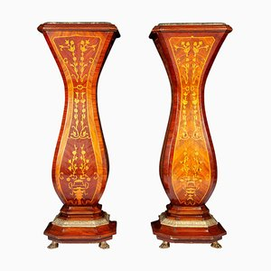 Large 19th Century French Inlaid Pedestals, Set of 2