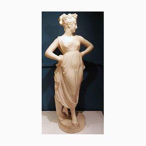 Neoklassizistische weiße Marmorskulptur einer Tänzerin, 1870er