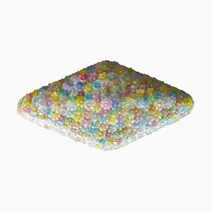 Large Venetian Multi-Colored Glass Flower Ceiling Light Attributed to Barovier & Toso, 1960s