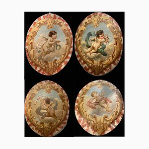 19th Century Allegorical Oval Paintings, 1860s, Set of 4