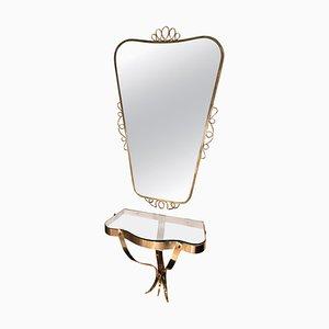 Messing Spiegel mit kleinem Konsolentisch im Stil von Gio Ponti, 1950er, 2er Set