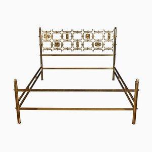 Bed with Brass Details by Arnaldo Pomodoro & Osvaldo Borsani, 1950s