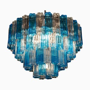 Turquoise and Clear Murano Glass Tronchi Chandeliers, Set of 2