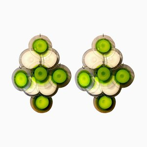 Green and White Disc Murano Glass Sconces or Wall Lights, Set of 2