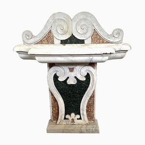 17th-Century Italian Marble Inlaid Fountain