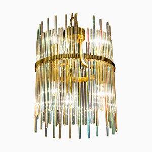 Regenbogenfarbener Kristallstab und Messing Kronleuchter oder Laterne von Gaetano Sciolari, 1960er