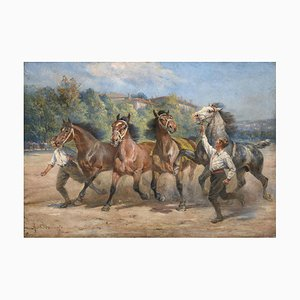 Dipinto grande con cavalli da corsa e fantini, anni '20