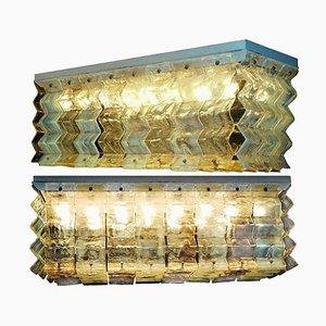 Lampada da soffitto grande in vetro di Murano di Carlo Nason per Mazzega, anni '70